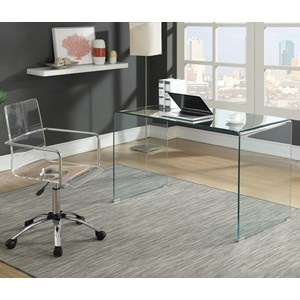 Contemporary Glass Desk and Acrylic Desk Chair