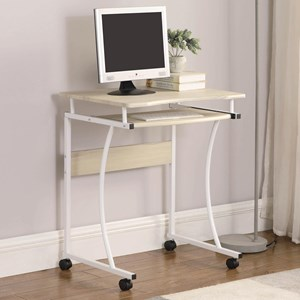 Computer Desk with Casters and Keyboard Tray
