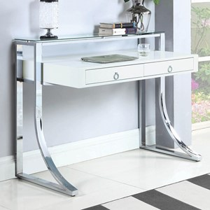 Glam Writing Desk with Tempered Glass Shelf