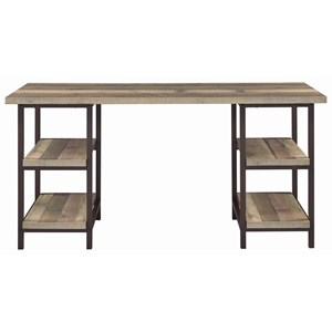 Skelton Industrial Writing Desk in Weathered Pine Finish