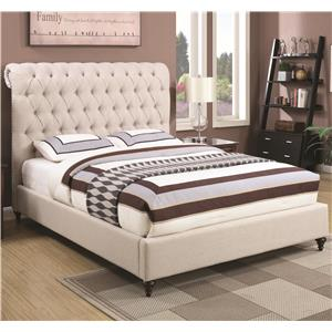 Queen Upholstered Bed in Beige Fabric