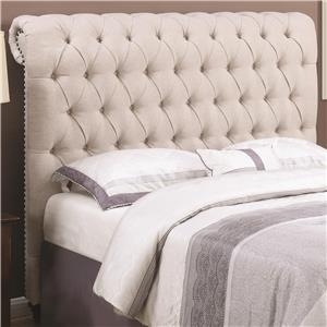 Queen Rolled Headboard in Beige Fabric