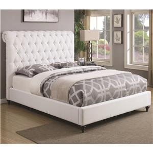 California King Upholstered Bed in White Fabric