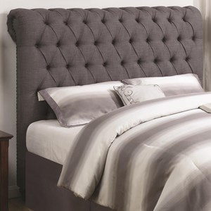 Full Rolled Headboard in Grey Fabric