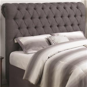 King Rolled Headboard in Grey Fabric