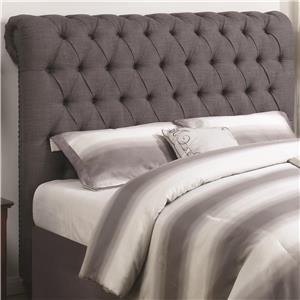 Queen Rolled Headboard in Grey Fabric