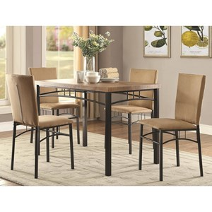 Transitional Five Piece Dining Set with Arch Motif