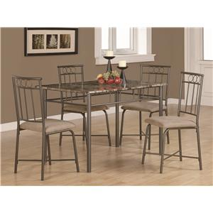 5 Piece Dining Set w/ Leg Table and 4 Side Chairs