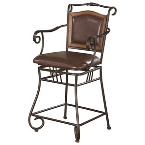 """24"""" Metal Bar Stool with Upholstered Seat"""
