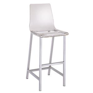 Acrylic Bar Height Stool with Chrome Base