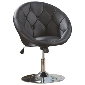 Contemporary Round Tufted Black Swivel Chair