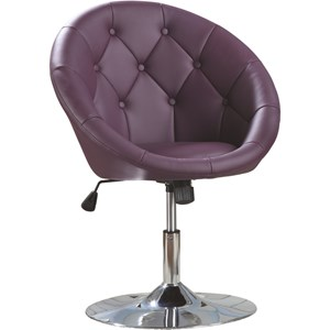 Contemporary Round Tufted Purple Swivel Chair