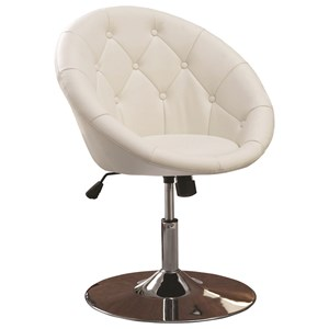 Contemporary Round Tufted White Swivel Chair