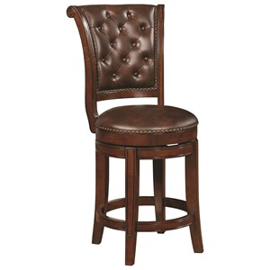Traditional Swivel Counter Height Stool with Button Tufting