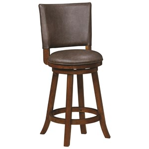 Traditional Upholstered Swivel Counter Height Stool