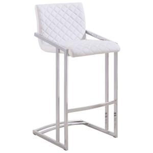 Contemporary Bar Stool with Quilted Upholstery