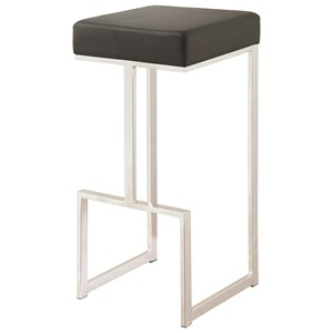 Contemporary Bar Stool with Upholstered Seat