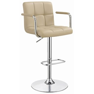 Contemporary Adjustable Height Swivel Bar Stool - Beige Leatherette
