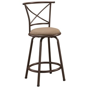 "24"" Metal Bar Stool with Upholstered Seat"
