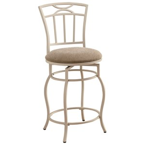"24"" White Metal Barstool with Upholstered Seat"