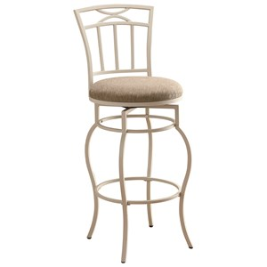 """29"""" White Metal Barstool with Upholstered Seat"""