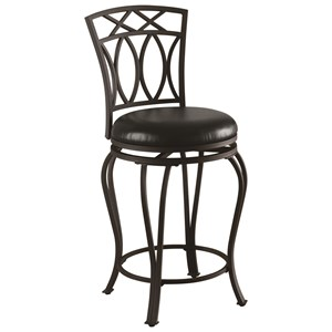 "24"" Elegant Metal Barstool with Black Faux Leather Seat"