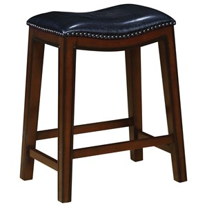 Backless Counter Height Stool with Nailhead Accents