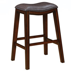 Upholstered Backless Bar Stool with Nailhead Trim