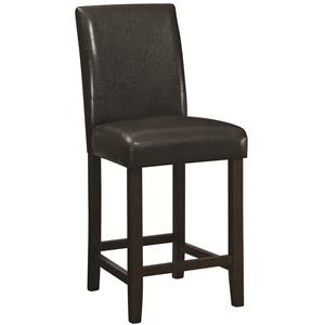 "24"" Counter Height Stool with Dark Brown Upholstered Back and Seat"