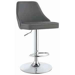 Contemporary Adjustable Height Swivel Bar Stool - Grey