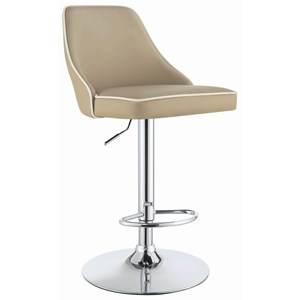 Contemporary Adjustable Height Swivel Bar Stool - Beige