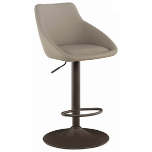 Transitional Adjustable Swivel Bar Stool with Dark Bronze Base and Taupe Upholstery