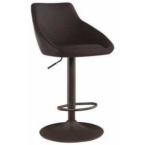 Transitional Adjustable Height Swivel Bar Stool with Dark Bronze Base and Dark Brown Upholstery