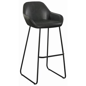 Industrial Bar Stool in Vintage Black Leatherette