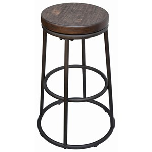 Industrial Wood and Metal Counter Height Stool