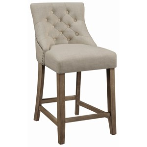 Transitional Tufted Counter Height Stool with Nailheads