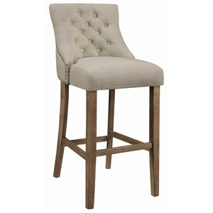 Transitional Tufted Bar Stool with Nailheads