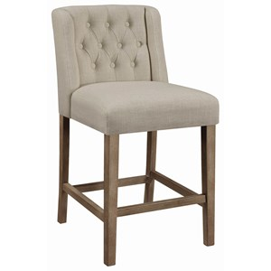 Transitional Tufted Counter Height Stool with Wing Back