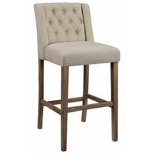 Transitional Tufted Bar Stool with Wing Back