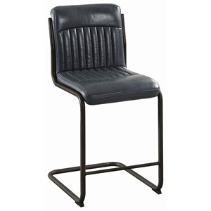 Industrial Counter Height Stool in Black Leatherette
