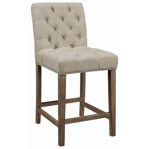 Transitional Tufted Counter Height Stool