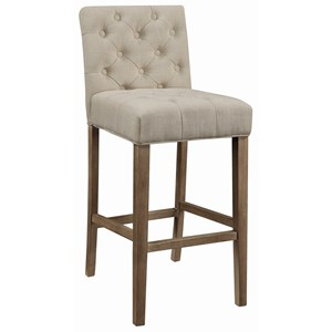 Transitional Tufted Bar Stool