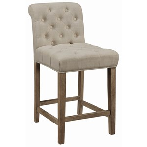 Transitional Tufted Counter Height Stool with Rolled Back