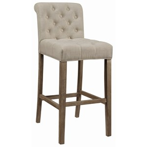 Transitional Tufted Bar Stool with Rolled Back
