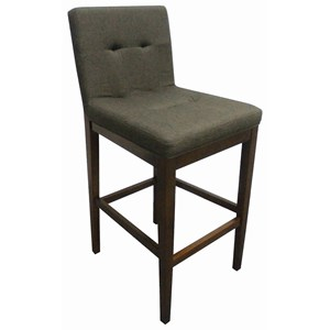 Casual Tufted Bar Stool in Charcoal Fabric