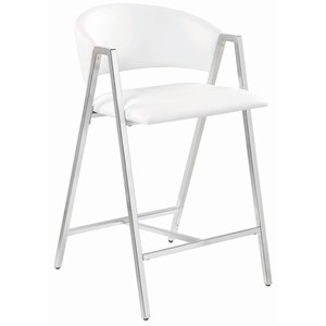 Contemporary Chrome Counter Height Stool with White Leatherette Upholstery