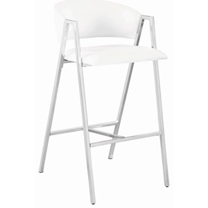 Contemporary Chrome Bar Stool with White Leatherette Upholstery