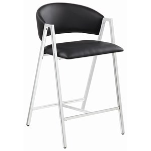 Contemporary Chrome Counter Height Stool with Black Leatherette Upholstery