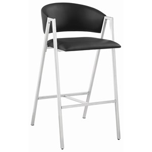 Contemporary Chrome Bar Stool with Black Leatherette Upholstery