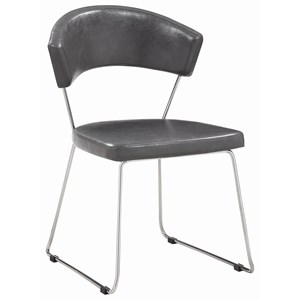 Gray Leatherette Side Chair with Chrome Finish Legs
